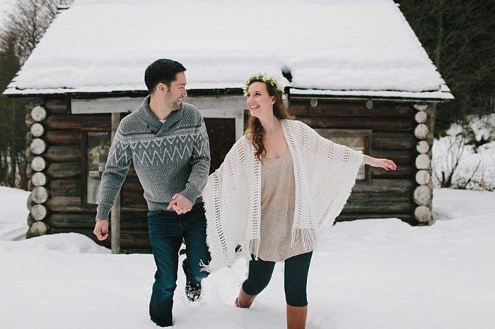 Snowy British Columbia Engagement Jamie Delaine Photography | Via MountainsideBride.com