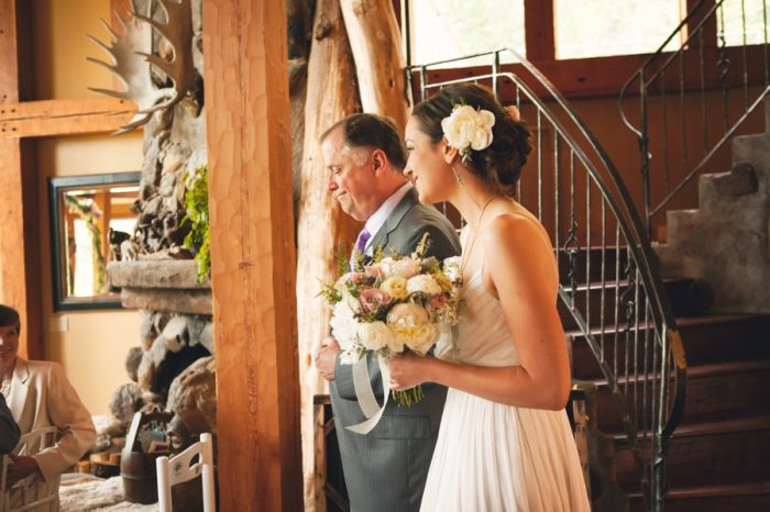 11 Ceremony Bride And Father Sandpoint Idaho Mountain Wedding Amy Galbraith Photography | Via MountainsideBride.com