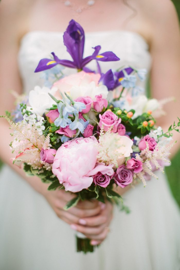 Pink And Purple Bouquets | Bald Eagle State Park Wedding | Caitlin Thomas Photography | Via MountainsideBride.com