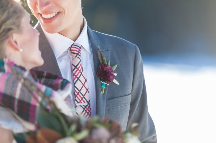 burgundy boutonniere | Breckenridge Nordic Wedding Inspiration Bergreen Photography | Via MountainsideBride.com