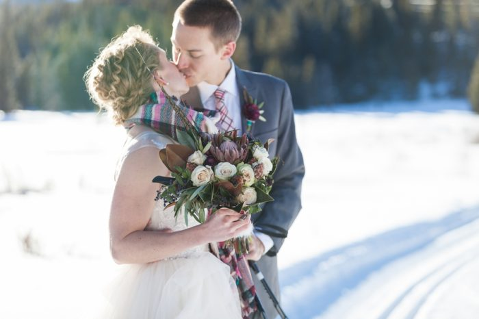 winter bride and groom | Breckenridge Nordic Wedding Inspiration Bergreen Photography | Via MountainsideBride.com