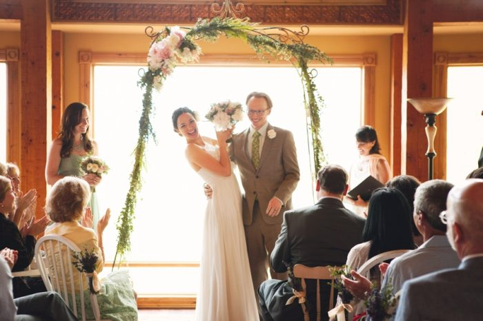 15 Ceremony Laugh Sandpoint Idaho Mountain Wedding Amy Galbraith Photography | Via MountainsideBride.com