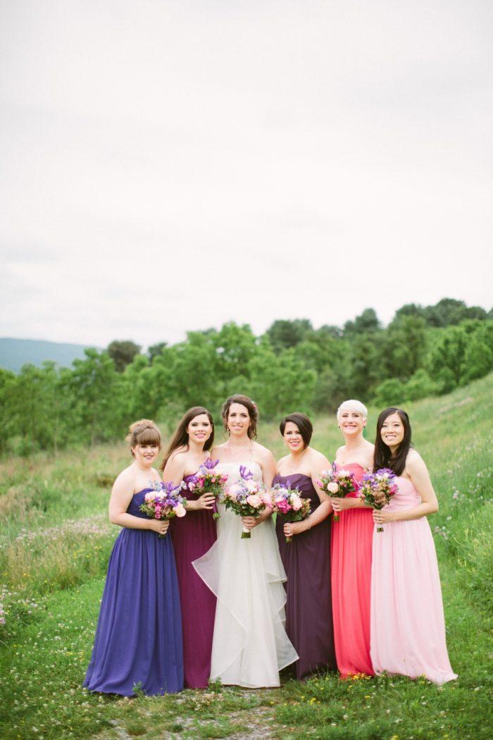 Mix And Match Bridesmaids Dresses | Bald Eagle State Park Wedding | Caitlin Thomas Photography | Via MountainsideBride.com