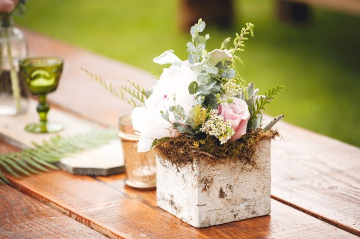 17 Rustic Elegant Pink Centerpiece Sandpoint Idaho Mountain Wedding Amy Galbraith Photography | Via MountainsideBride.com