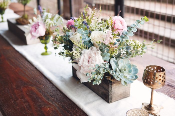 19 Succulent And Peony Centerpiece Sandpoint Idaho Mountain Wedding Amy Galbraith Photography | Via MountainsideBride.com