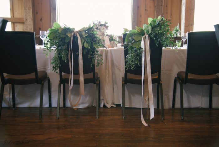 Pretty greenery chair crowns | Devils Thumb Wedding | Jordan Weiland Photography | Via MountainsideBride.com