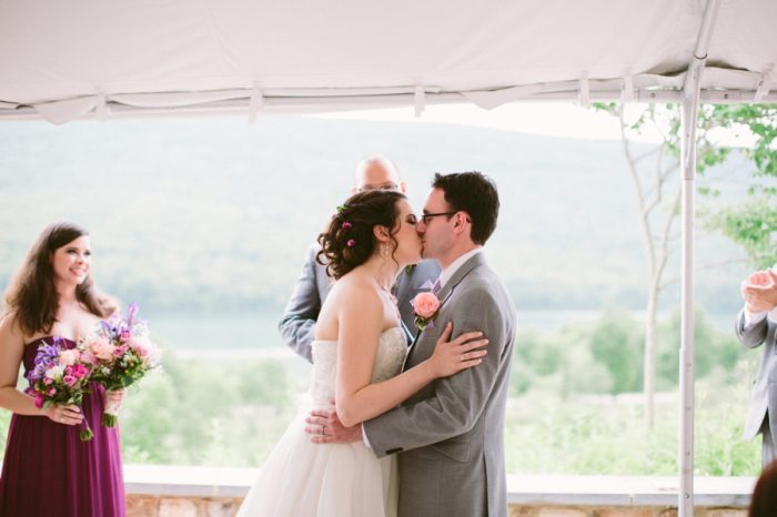 Ceremony | Bald Eagle State Park Wedding | Caitlin Thomas Photography | Via MountainsideBride.com