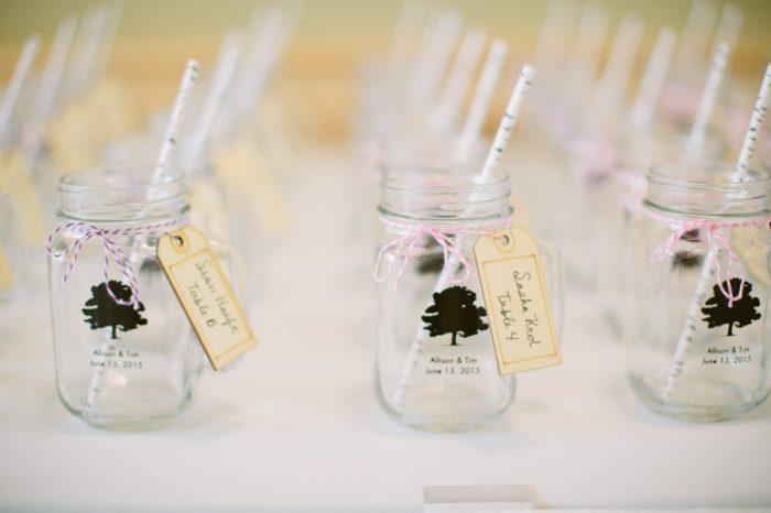 Tree Mason Jar Glasses | Bald Eagle State Park Wedding | Caitlin Thomas Photography | Via MountainsideBride.com