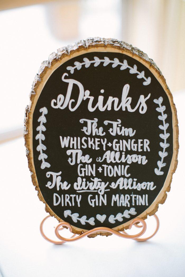 Signature Drinks | Bald Eagle State Park Wedding | Caitlin Thomas Photography | Via MountainsideBride.com