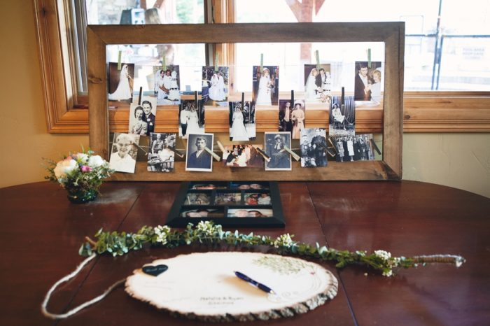 27 Wooden Guest Book Sandpoint Idaho Mountain Wedding Amy Galbraith Photography | Via MountainsideBride.com