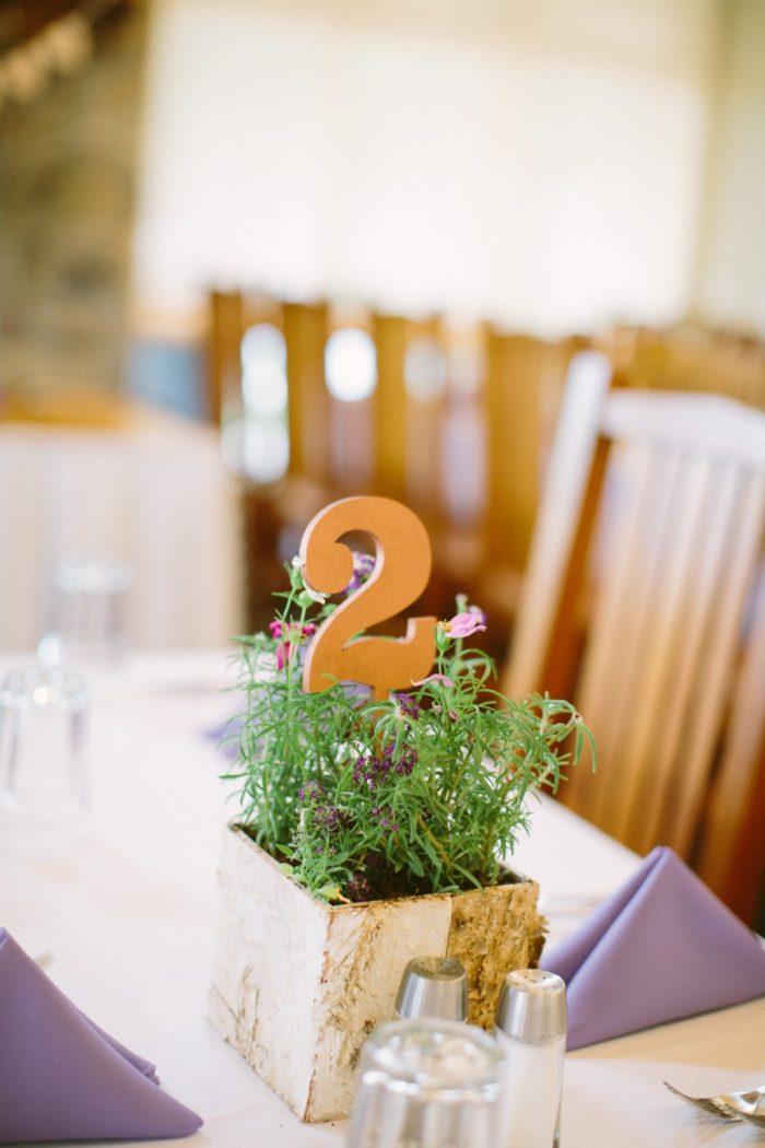 Wooden Table Number | Bald Eagle State Park Wedding | Caitlin Thomas Photography | Via MountainsideBride.com
