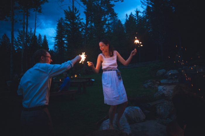29 Wedding Sparklers Sandpoint Idaho Mountain Wedding Amy Galbraith Photography | Via MountainsideBride.com