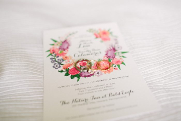 Floral Wedding Invitation | Bald Eagle State Park Wedding | Caitlin Thomas Photography | Via MountainsideBride.com