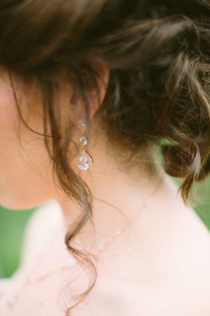 Crystal Drop Earrings | Bald Eagle State Park Wedding | Caitlin Thomas Photography | Via MountainsideBride.com