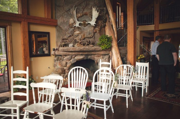 8 Indoor Rustic Ceremony Sandpoint Idaho Mountain Wedding Amy Galbraith Photography | Via MountainsideBride.com
