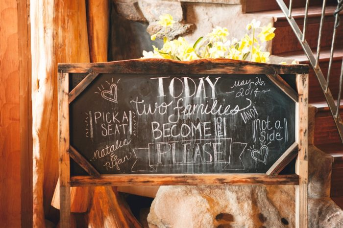 9 Chalkboard Sign Sandpoint Idaho Mountain Wedding Amy Galbraith Photography | Via MountainsideBride.com