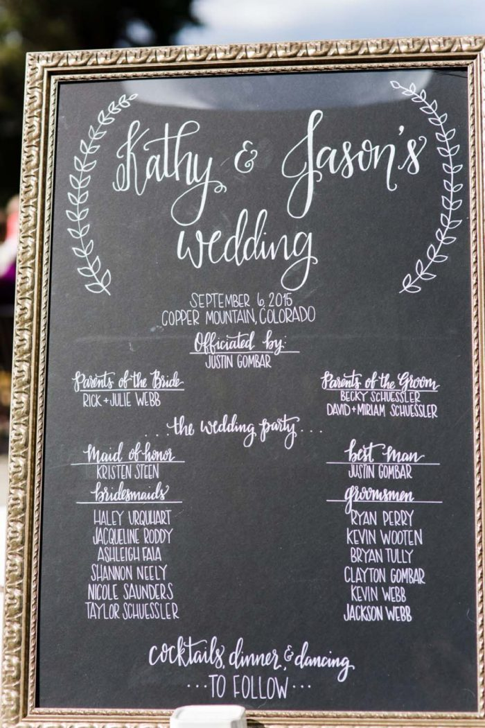 Chalkboard wedding sign | Copper Mountain Wedding Colorado Danielle DeFiore Photography | Via Mountainsidebride.com
