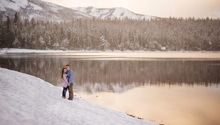 Snowy Mountain Engagement in Montanta with Casual Plaid Details