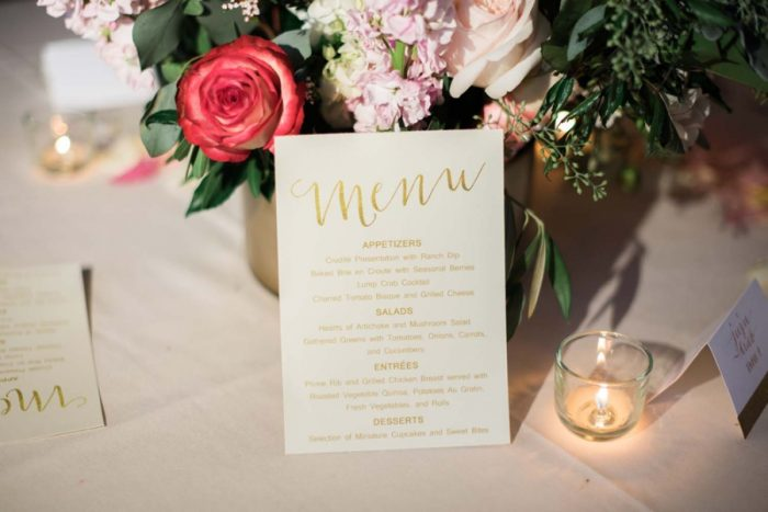gold calligraphy menu | Copper Mountain Wedding Colorado Danielle DeFiore Photography | Via Mountainsidebride.com