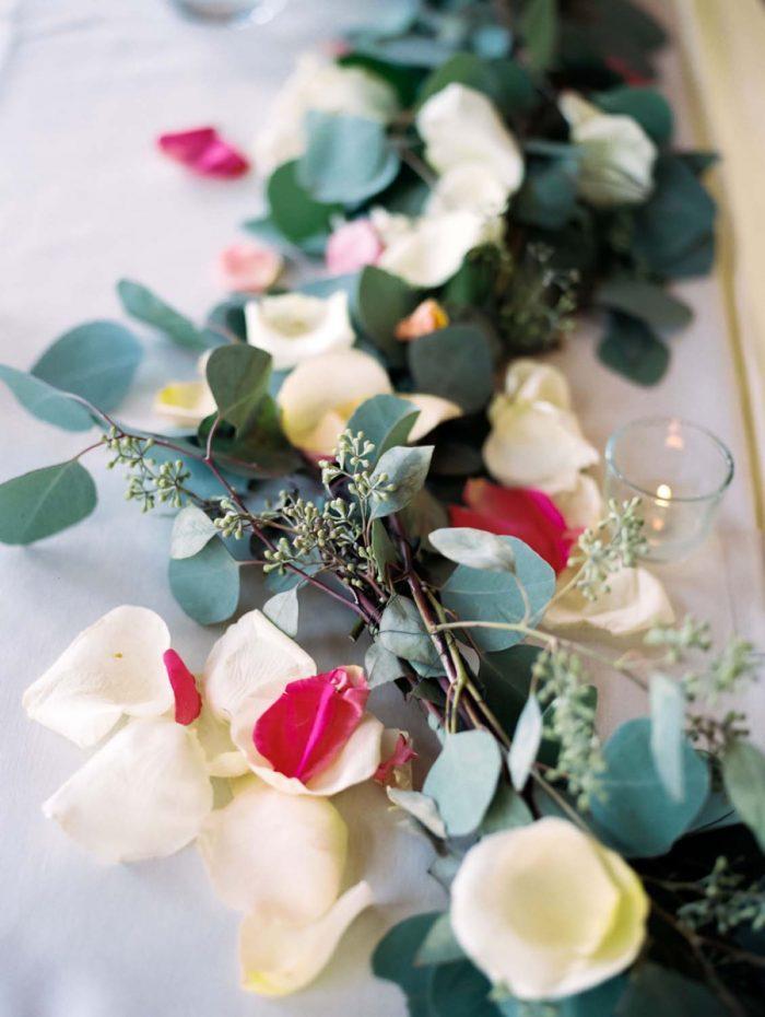 romantic floral table runner   Copper Mountain Wedding Colorado Danielle DeFiore Photography   Via Mountainsidebride.com
