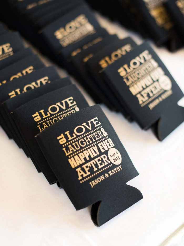 black and gold wedding koozies | Copper Mountain Wedding Colorado Danielle DeFiore Photography | Via Mountainsidebride.com