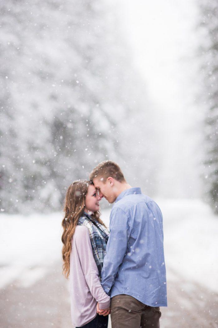 3 Snowy Montana Engagement Marianne Wiest Photography Via MountainsideBride.com