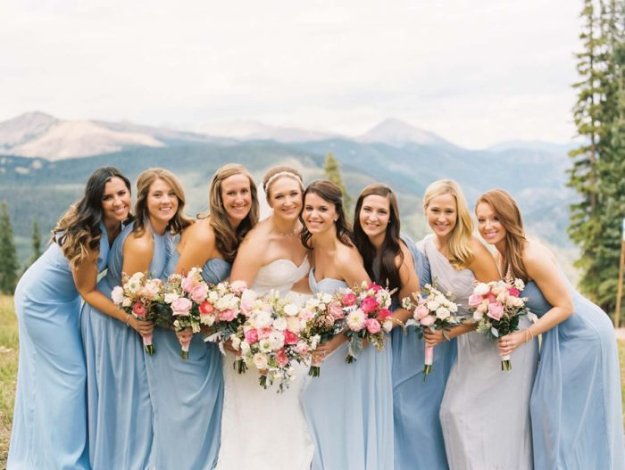 powder blue bridesmaid dresses | Copper Mountain Wedding Colorado Danielle DeFiore Photography | Via Mountainsidebride.com