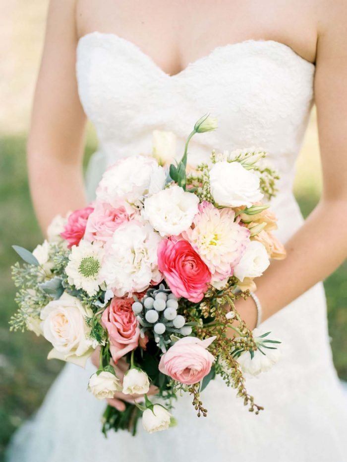 Pink and white bridal bouquet | Copper Mountain Wedding Colorado Danielle DeFiore Photography | Via Mountainsidebride.com
