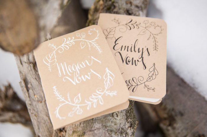 Wedding vow books | Winter Vermont Wedding With Two Brides Jaclyn Schmitz Photography | Via MountainsideBride.com