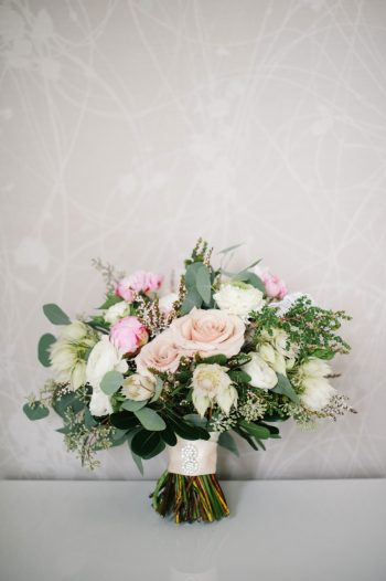 Pink And White Bouquet Canmore Mountain Wedding At Silvertip Resort Corrina Walker Photography   Via MountainsideBride.com