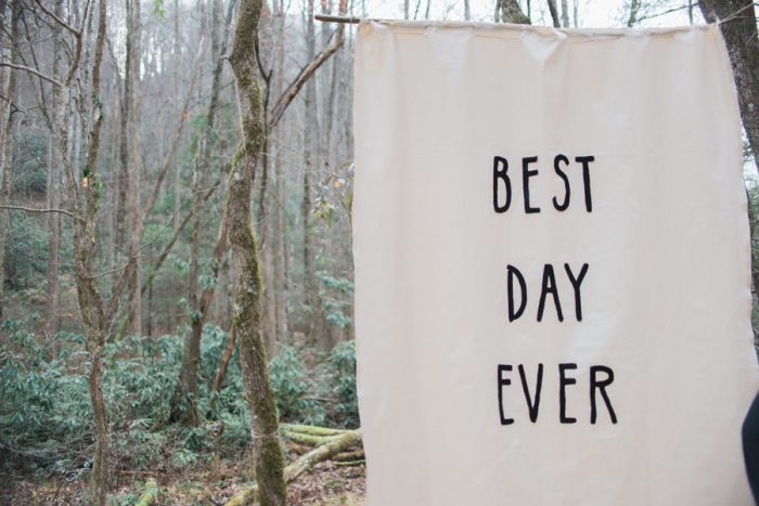 Best Day Ever Wedding Sign| Smoky Mountain Elopement Madeline Harper Photo | Via MountainsideBride