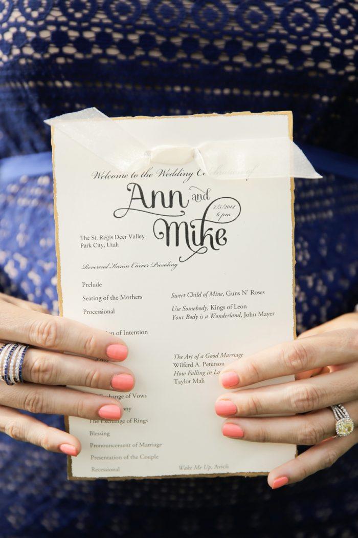 Ceremony Program | Elegant Park City Wedding St Regis Logan Walker Photography | Via MountainsideBride.com