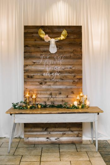 Wooden Wedding Sign With Moose Canmore Mountain Wedding At Silvertip Resort Corrina Walker Photography | Via MountainsideBride.com