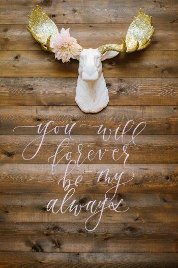 Wooden Wedding Sign Canmore Mountain Wedding At Silvertip Resort Corrina Walker Photography   Via MountainsideBride.com