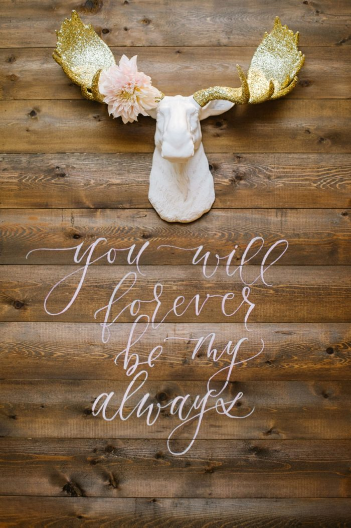 Wooden Wedding Sign Canmore Mountain Wedding At Silvertip Resort Corrina Walker Photography | Via MountainsideBride.com