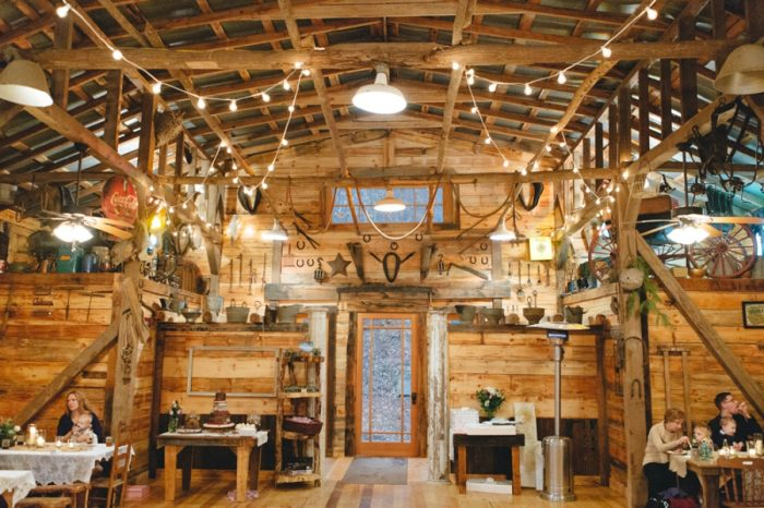 Barn Interior Folk Wedding Inspiration In Asheville Krista Lajara Photography | Via MountainsideBride.com