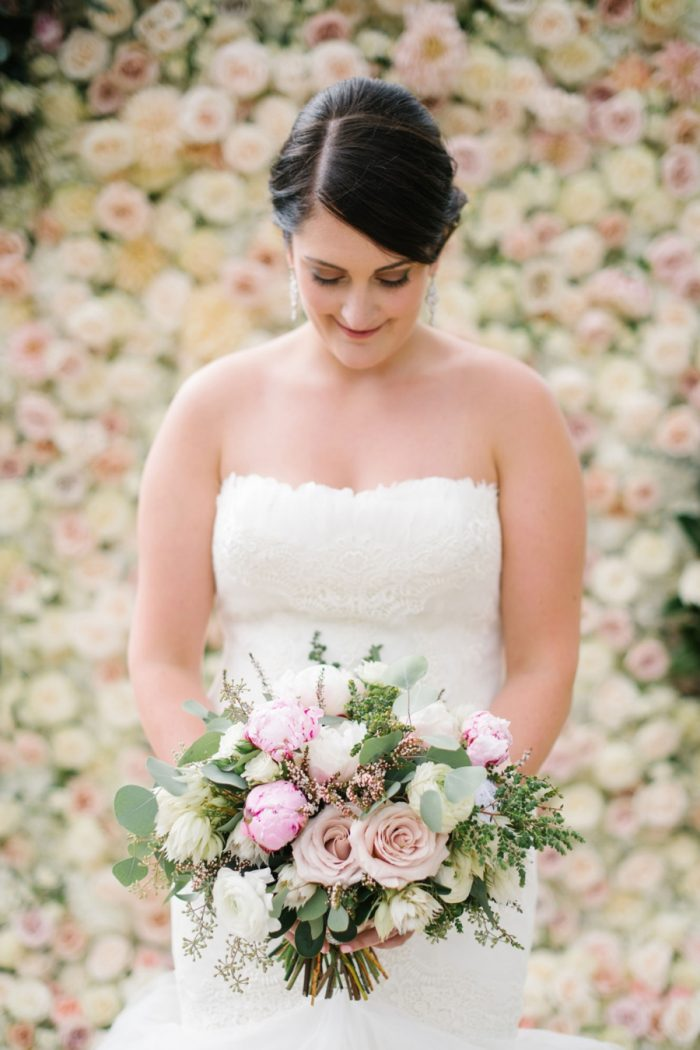 Bride With Pink And White Bouquet Canmore Mountain Wedding At Silvertip Resort Corrina Walker Photography | Via MountainsideBride.com