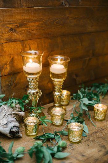 Gold Tablecloth Canmore Mountain Wedding At Silvertip Resort Corrina Walker Photography   Via MountainsideBride.com