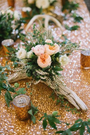 Wood And Cabbage Rose Centerpiece Canmore Mountain Wedding At Silvertip Resort Corrina Walker Photography | Via MountainsideBride.com
