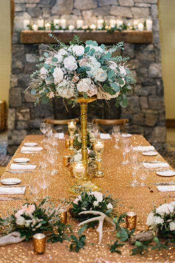 Tall Gold Centerpiece Canmore Mountain Wedding At Silvertip Resort Corrina Walker Photography   Via MountainsideBride.com