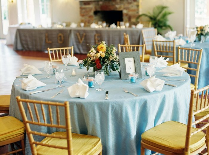 Reception Tables With Blue Details | Mountain Wedding In Barboursville Virginia By JoPhoto | Via MountainsideBride.com