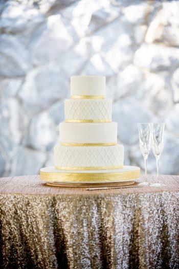 22 Asheville Event Co Gold Wedding Cake Linen | Via MountainsideBride.com