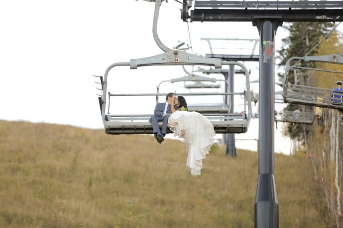 Bride Groom Chair Lift Park City Wedding | Pepper Nix Photography | Via MountainsideBride.com