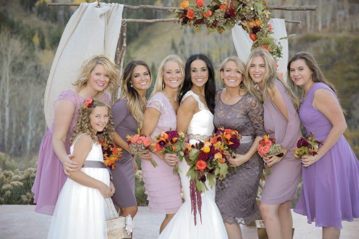 Bridesmaids In Lavender Lace Dresses Park City Wedding | Pepper Nix Photography | Via MountainsideBride.com