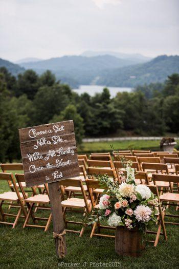 Choose A Seat Sign NC Wedding | Parker J Pfister |via Mountainside Bride