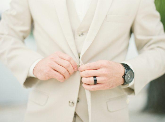 sand wedding suit | Knoxville Wedding Hunter Valley Farm | JoPhoto | Via MountainsideBride.com