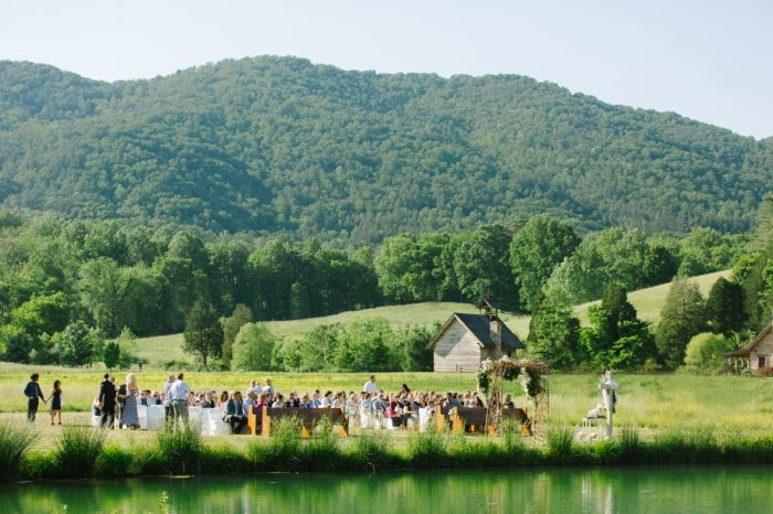Outdoor Mountain Reception | Pure Water Farm Wedding Tennessee | JoPhoto | Via MountainsideBride.com