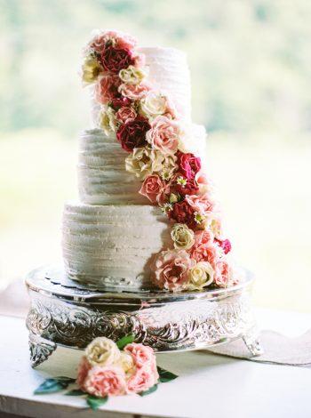 Wedding Cake With Roses   Pure Water Farm Wedding Tennessee   JoPhoto   Via MountainsideBride.com