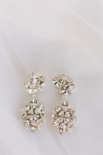 Crystal Chandelier Earrings | Pure Water Farm Wedding Tennessee | JoPhoto | Via MountainsideBride.com