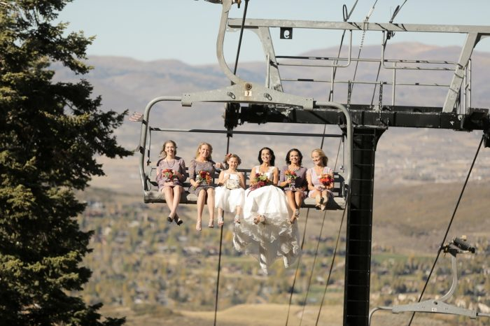 Bridesmaids On Chairlift Park City Wedding | Pepper Nix Photography | Via MountainsideBride.com